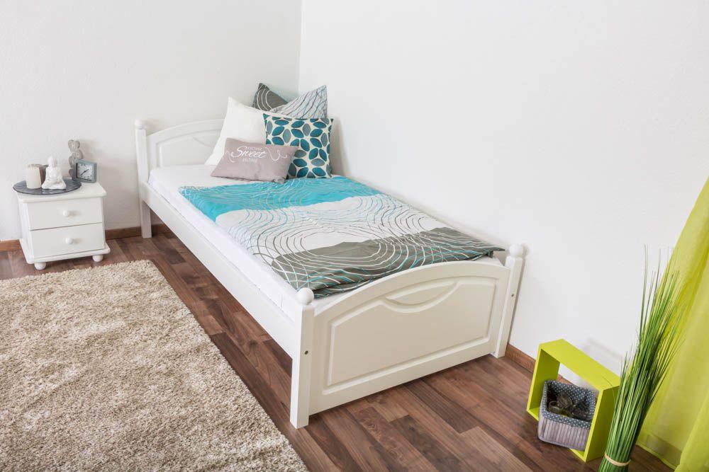 Einzelbett/ Gästebett Kiefer massiv Vollholz weiß lackiert 82, inkl. Lattenrost - 100 x 200 cm (B x L)
