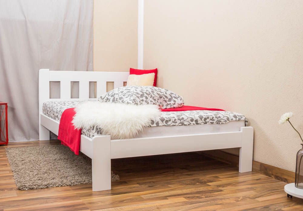 Einzelbett / Gästebett Kiefer Vollholz massiv weiß lackiert A21, inkl. Lattenrost - Abmessung 120 x 200 cm