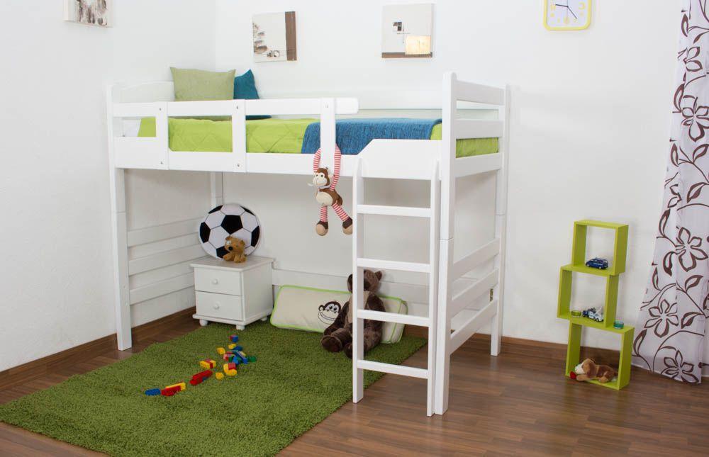 "Kinderbett / Hochbett ""Easy Premium Line"" K14/n, Buche Vollholz massiv Weiß - Maße: 90 x 190 cm"