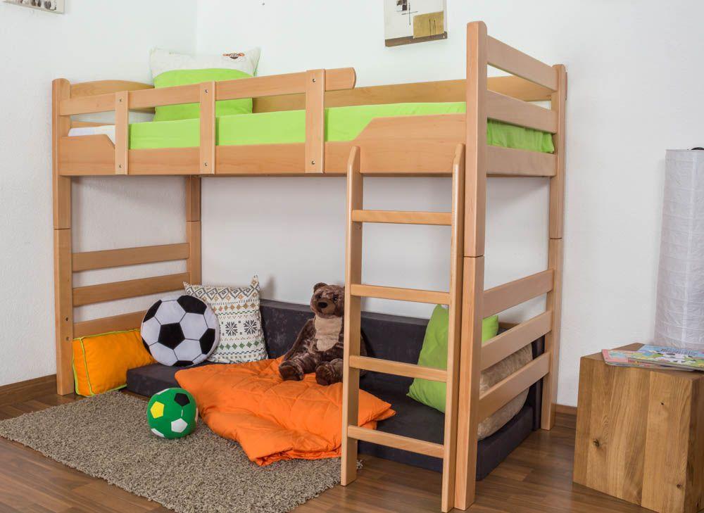 "Kinderbett / Hochbett ""Easy Premium Line"" K14/n, Buche Vollholz massiv Natur - Maße: 90 x 200 cm"
