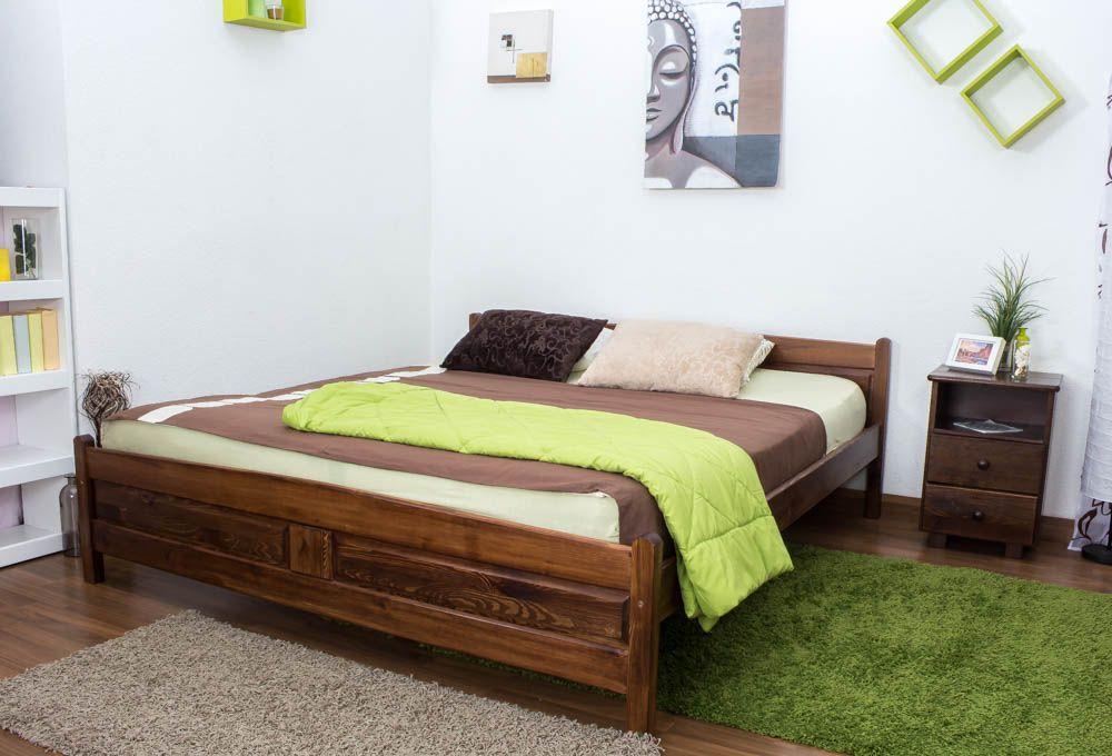 Doppelbett / Gästebett Kiefer Vollholz massiv Nussfarben A13, inkl. Lattenrost - Abmessung 180 x 200 cm