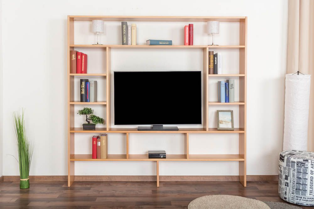 Regal Easy Möbel S16, Buche Vollholz massiv Weiß lackiert