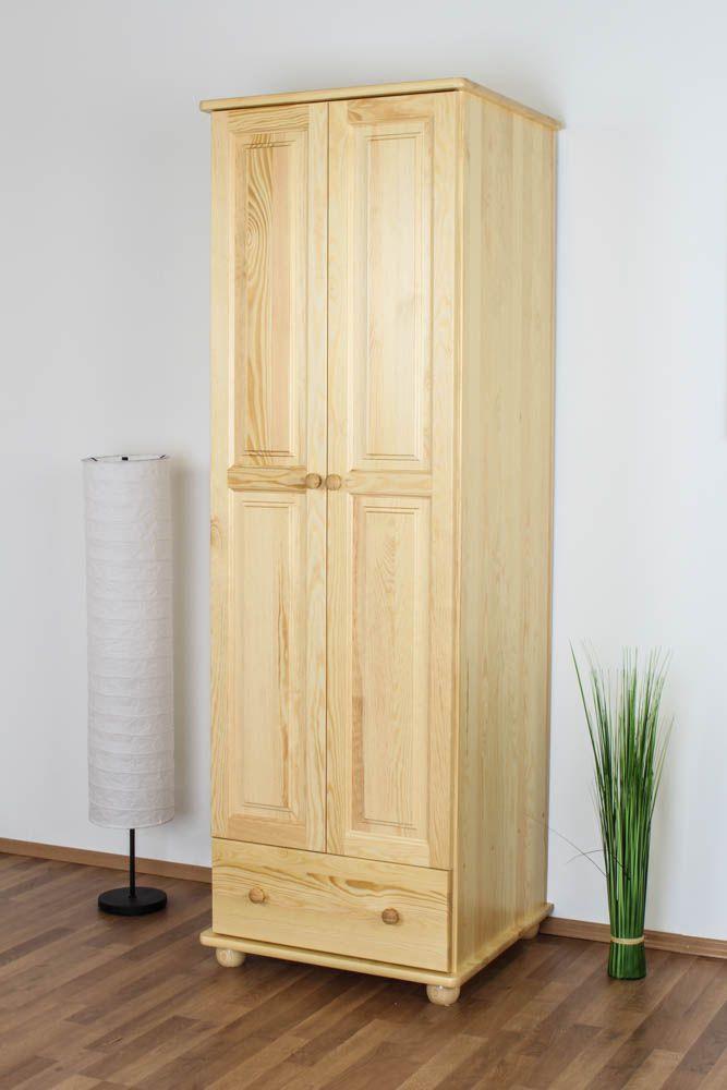 Kleiderschrank Kiefer Vollholz massiv natur Junco 15B - 195 x 65 x 59 cm (H x B x T)