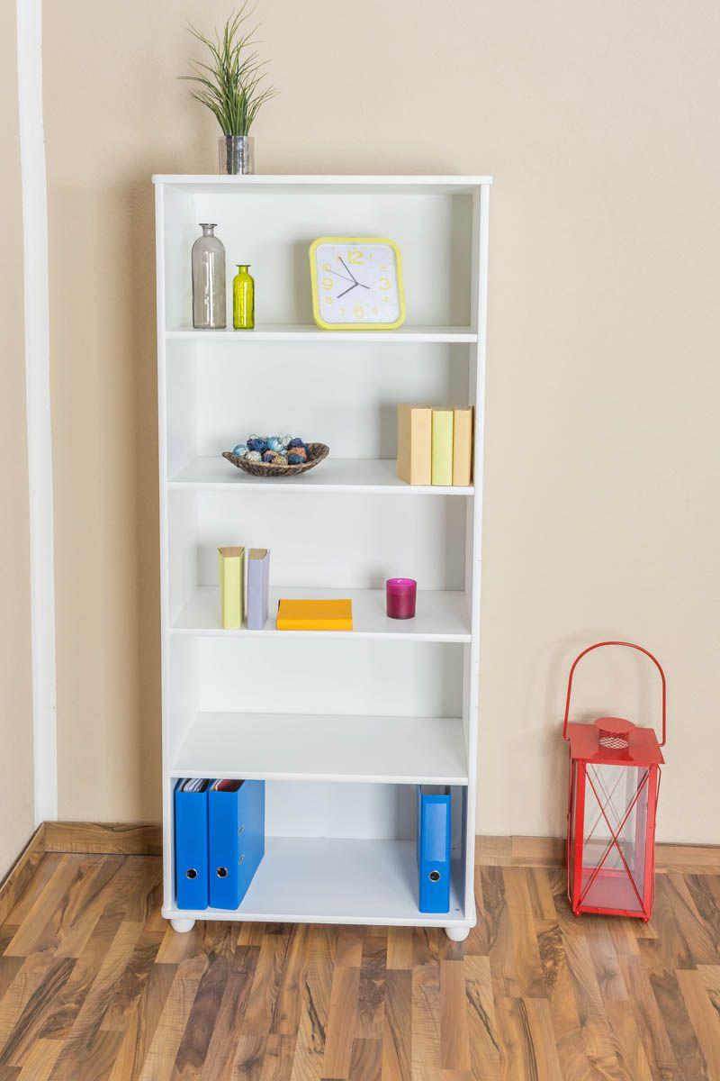 Bücherregal Kiefer massiv Vollholz weiß lackiert B001