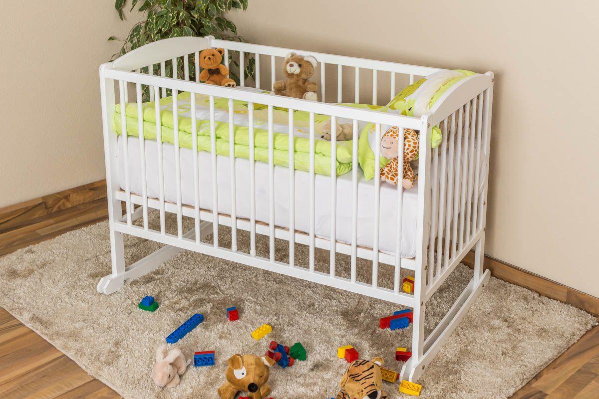 Babywiege Kiefer massiv Vollholz weiß lackiert 104, inkl. Lattenrost - Abmessung 60 x 120 cm