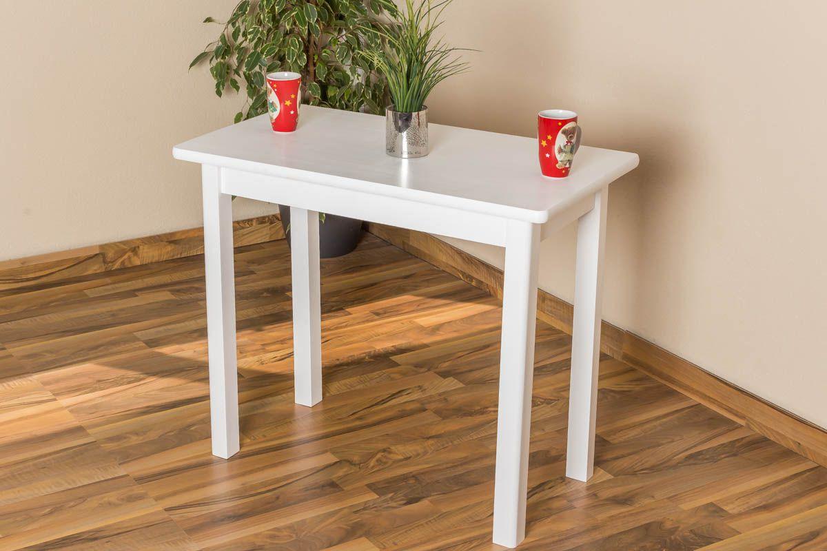 Tisch Kiefer massiv Vollholz weiß lackiert Junco 226B (eckig) - Abmessung 50 x 90 cm