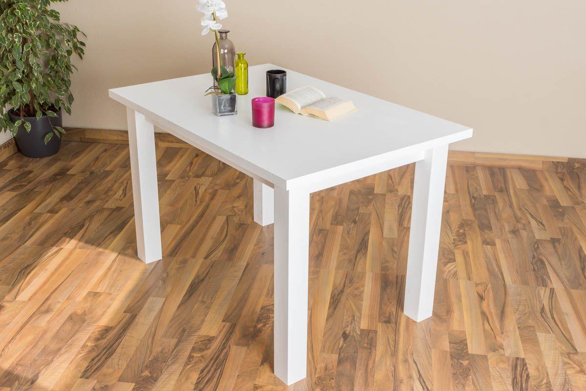 Tisch Kiefer massiv Vollholz weiß lackiert Junco 240A (eckig) - Abmessung 80 x 120 cm