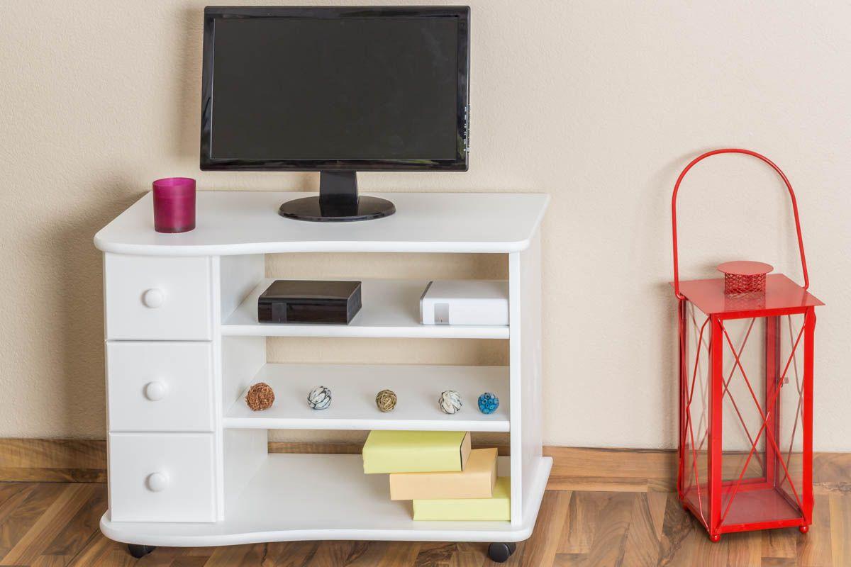 TV-Unterschrank Kiefer massiv Vollholz weiß lackiert Junco 202 - Abmessung 62 x 82 x 46 cm