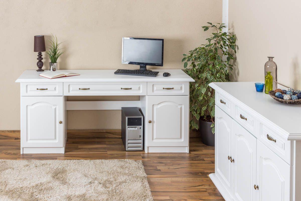 Schreibtisch Kiefer massiv Vollholz weiß Pipilo 19 - Abmessung 80 x 182 x 54 cm