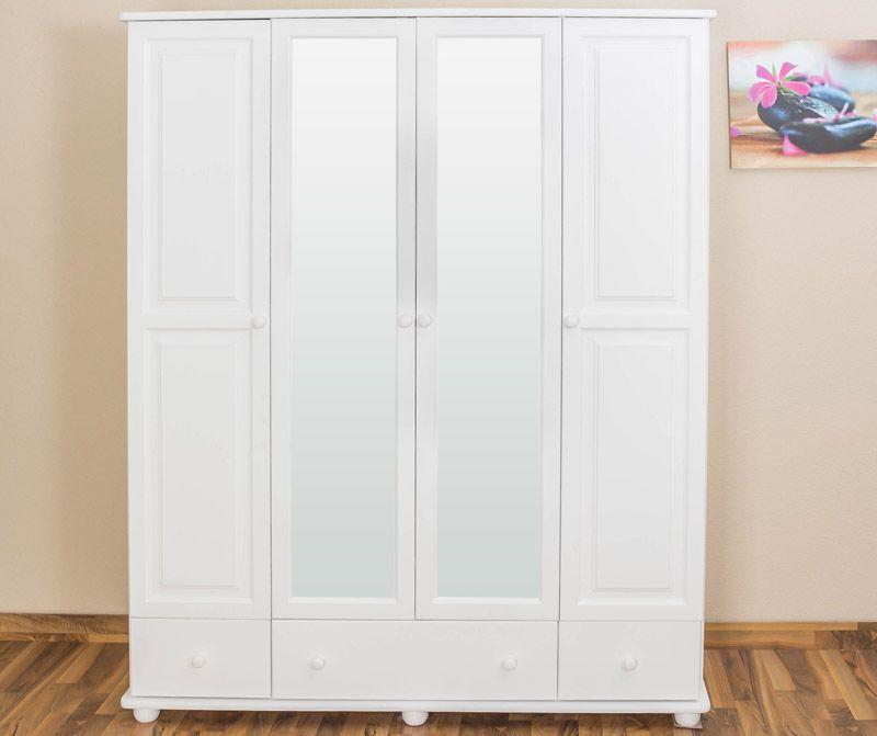 Kleiderschrank Kiefer Vollholz massiv weiß Junco 02 - Abmessung 195 x 162 x 59 cm