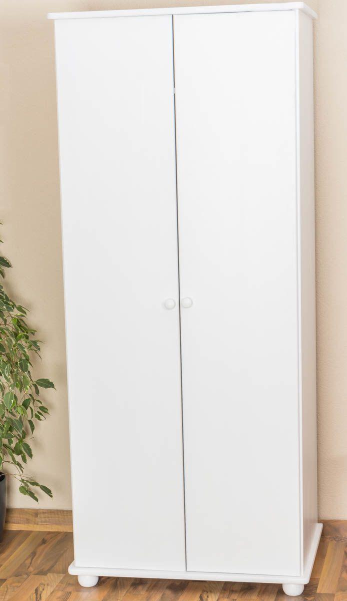 Kleiderschrank Kiefer Vollholz massiv weiß Junco 13A - Abmessung 195 x 84 x 59 cm
