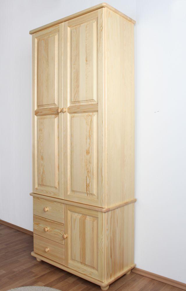 Schrank Kiefer massiv Vollholz natur Junco 40 - Abmessung: 195 x 84 x 42 cm (H x B x T)