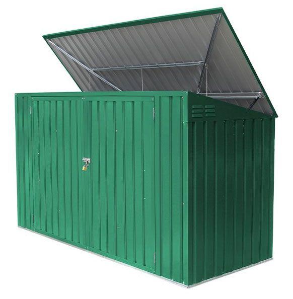 Mülltonnenbox / Metallgerätehaus, Maße: 235 x 100 x 131 cm (L x B x H), Farbe: Grün