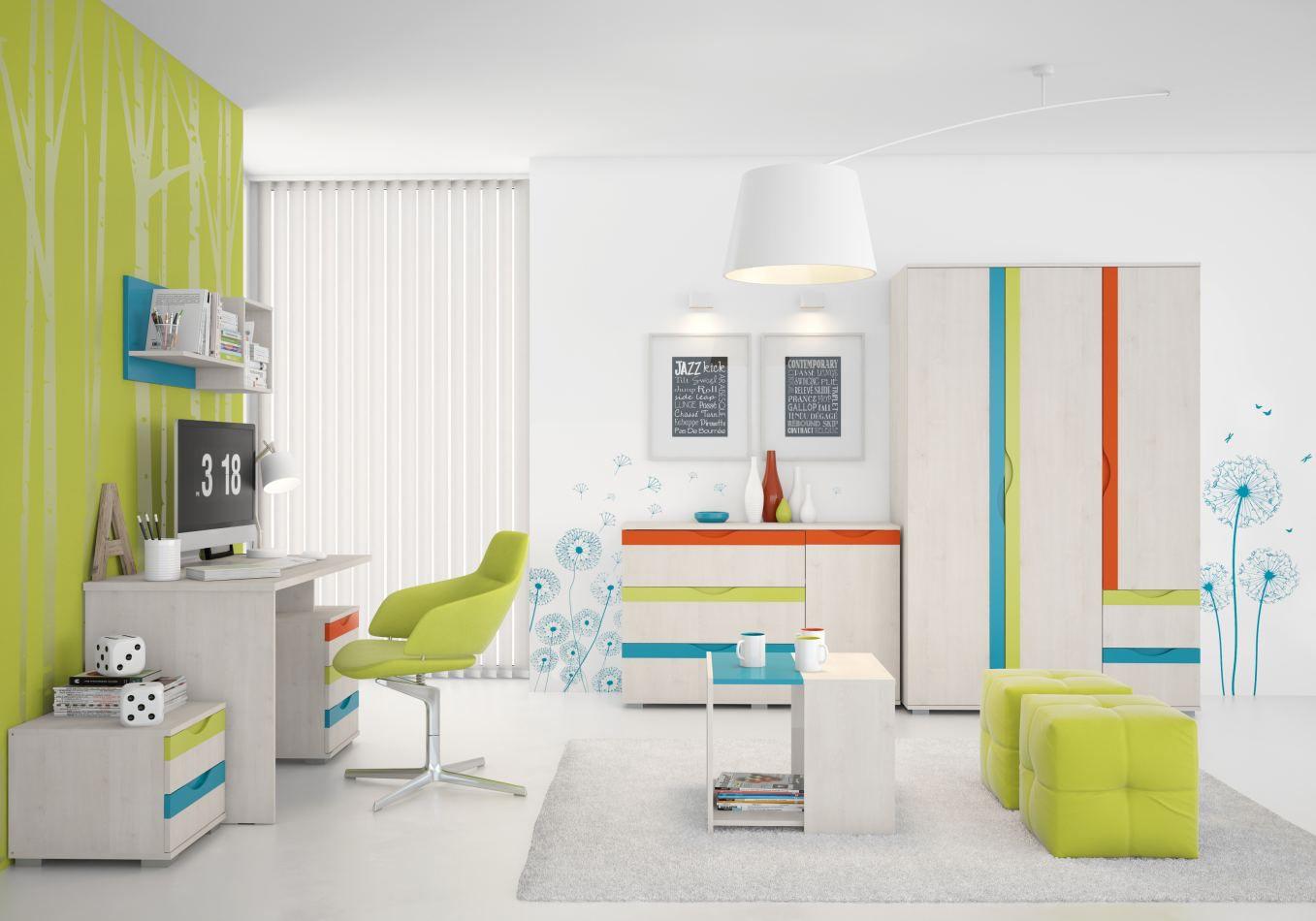 Kinderzimmer Komplett - Set C Peter, 6-teilig, Farbe: Kiefer Weiß / Orange / Gelb / Türkis