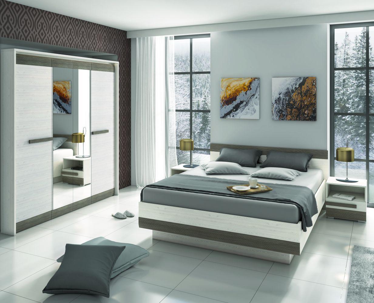 Schlafzimmer Komplett Set G Knoxville 4 Teilig Farbe Kiefer Weiss Grau