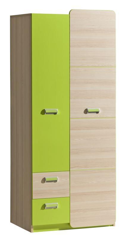 Jugendzimmer - Drehtürenschrank / Kleiderschrank Dennis 01, Farbe: Esche Grün - Abmessungen: 188 x 80 x 52 cm (H x B x T)