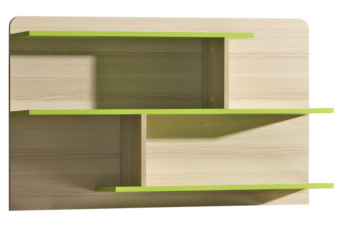 Jugendzimmer - Hängeregal Dennis 08, Farbe: Esche Grün - Abmessungen: 65 x 110 x 22 cm (H x B x T)