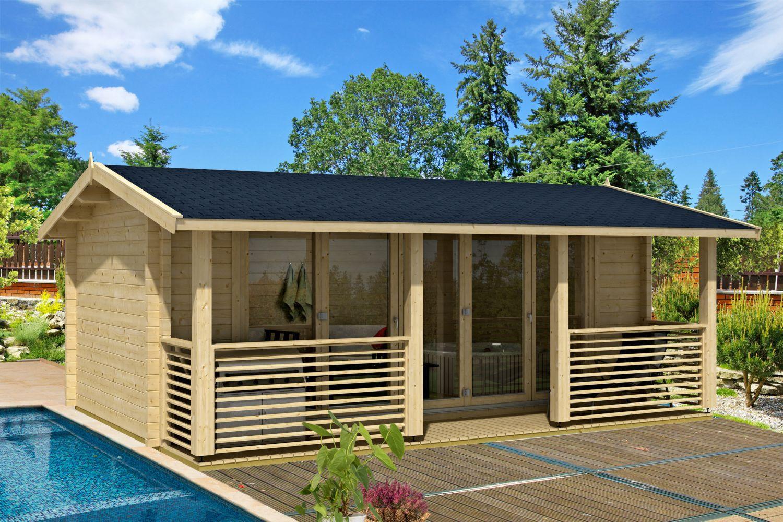 Gartenhaus G139 inkl. Fußboden - 70 mm Blockbohlenhaus, Grundfläche: 22 m², Satteldach