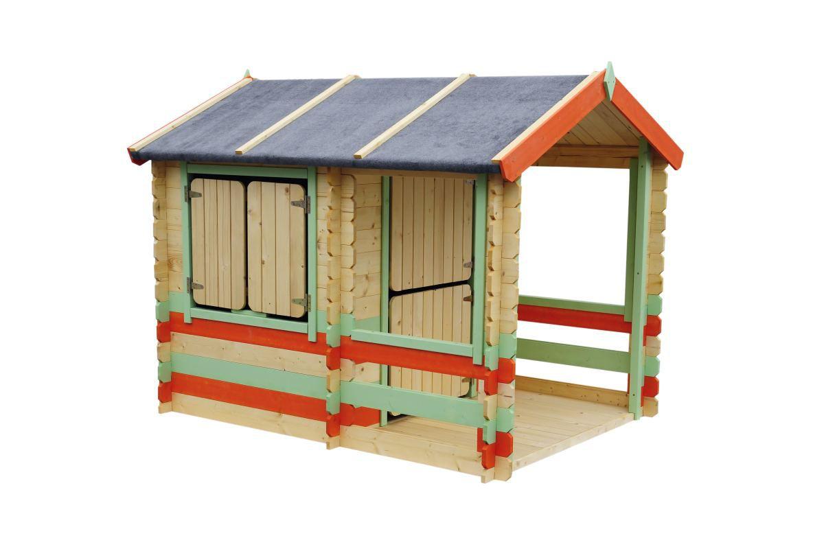 Spielhaus Summer Park - 1,75 x 1,30 Meter aus 19mm Blockbohlen, Farbe: Orange / Grün