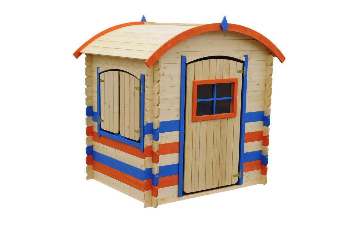 Spielhaus Colour Park - 1,05 x 1,30 Meter aus 19 mm Blockbohlen, Farbe: Orange / Blau