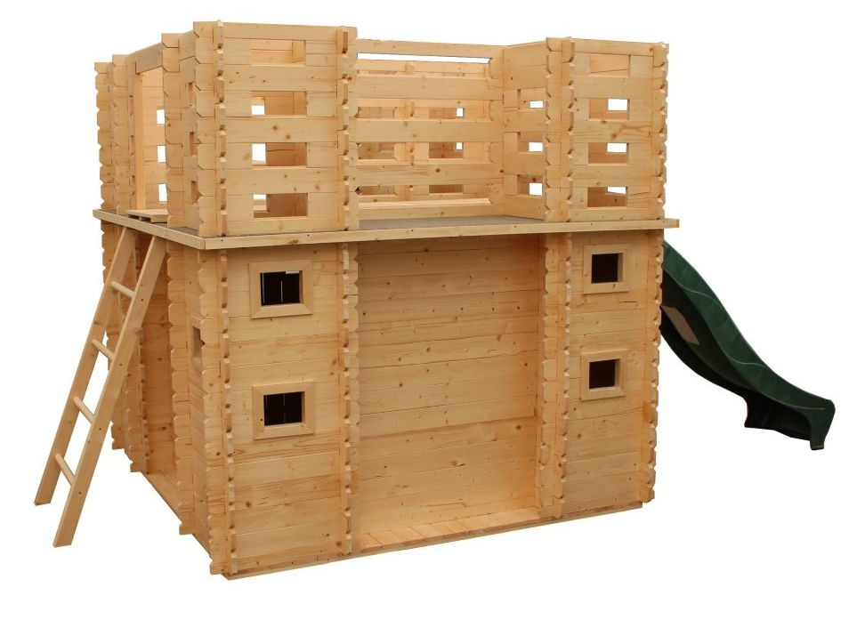Spielhaus / Kletterturm BURG mit Rutsche - 1,92 x 1,92 Meter aus 19 mm Blockbohlen