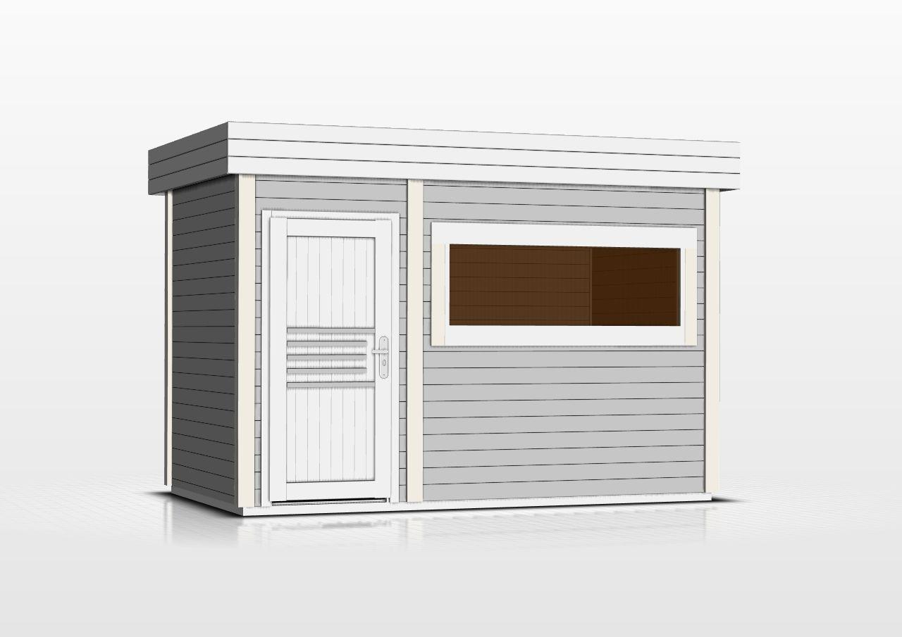 Saunahaus Lut 40 mm mit großem Panoramafenster, Farbe: Grau / Weiß - Außenmaße (B x T): 354 x 204 cm