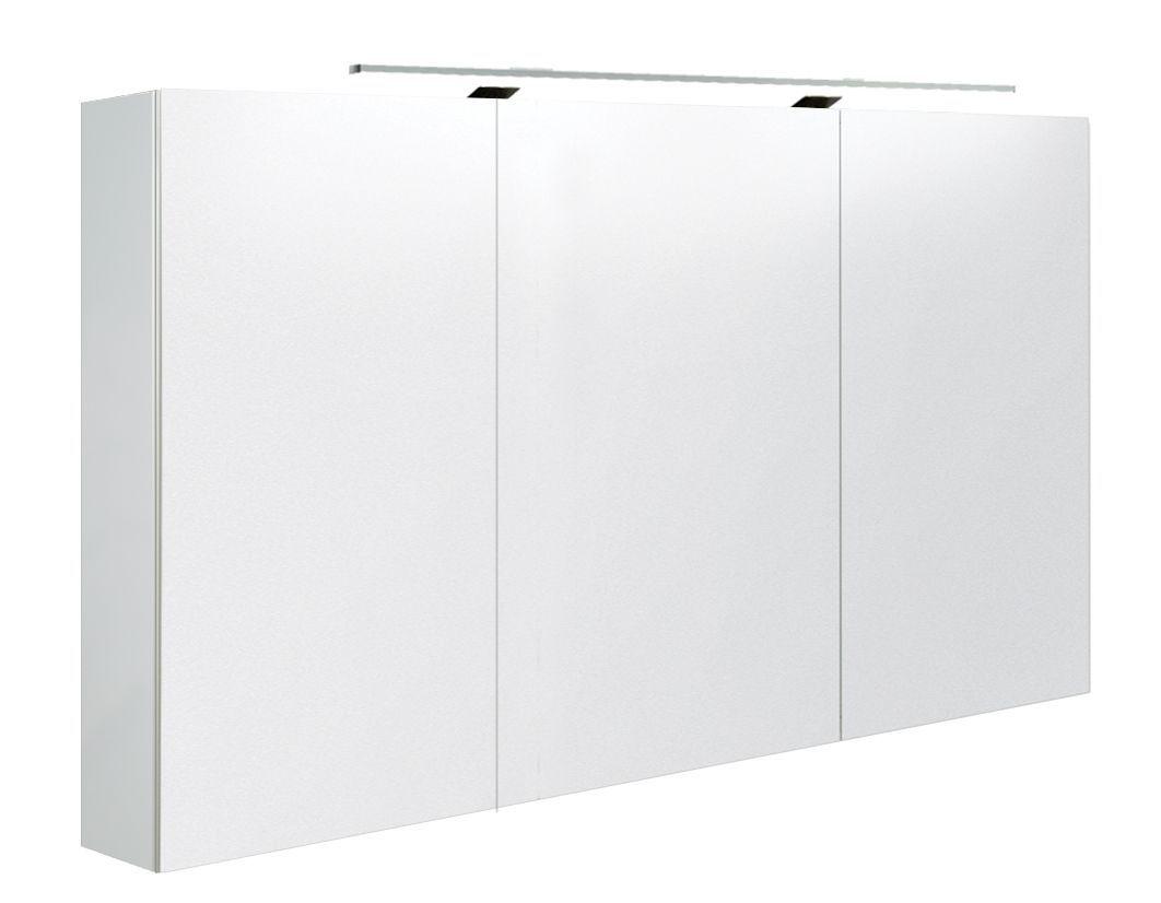 Badezimmer - Spiegelschrank Varanasi 25, Farbe: Weiß glänzend – 70 x 120 x 13 cm (H x B x T)