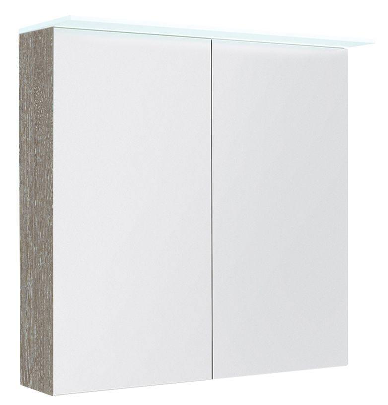 Badezimmer - Spiegelschrank Siliguri 10, Farbe: Esche Grau – 70 x 80 x 13 cm (H x B x T)