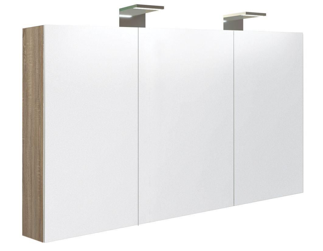 Badezimmer - Spiegelschrank Solapur 32, Farbe: Eiche – 70 x 120 x 13 cm (H x B x T)