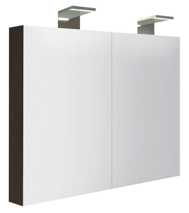 Badezimmer - Spiegelschrank Solapur 13, Farbe: Eiche Schwarz – 70 x 80 x 13 cm (H x B x T)