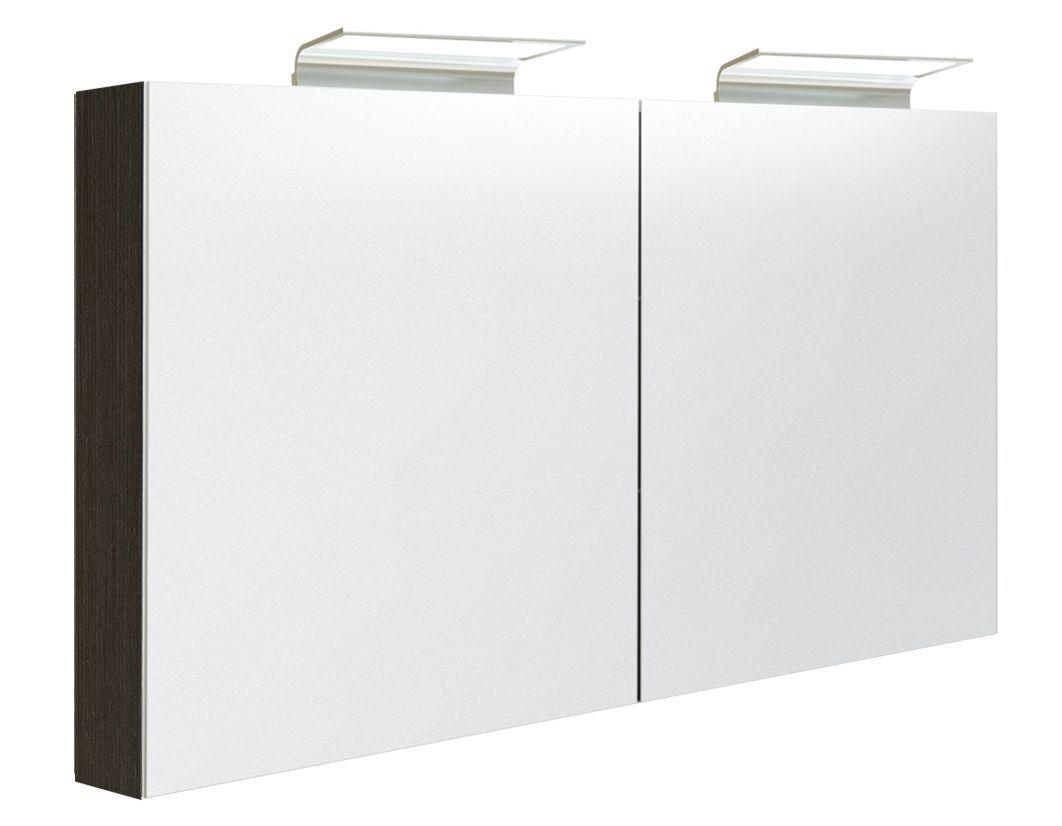 Badezimmer - Spiegelschrank Belgaum 37, Farbe: Eiche Schwarz – 70 x 120 x 13 cm (H x B x T)
