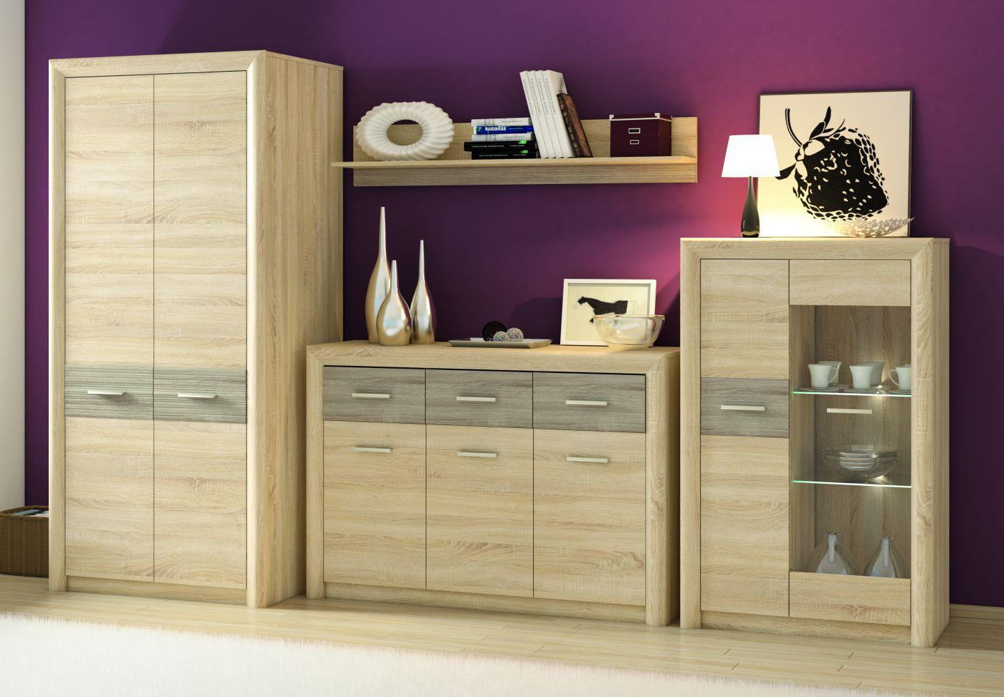 Wohnzimmer Komplett Set E Mesquite 4 Teilig Farbe Sonoma