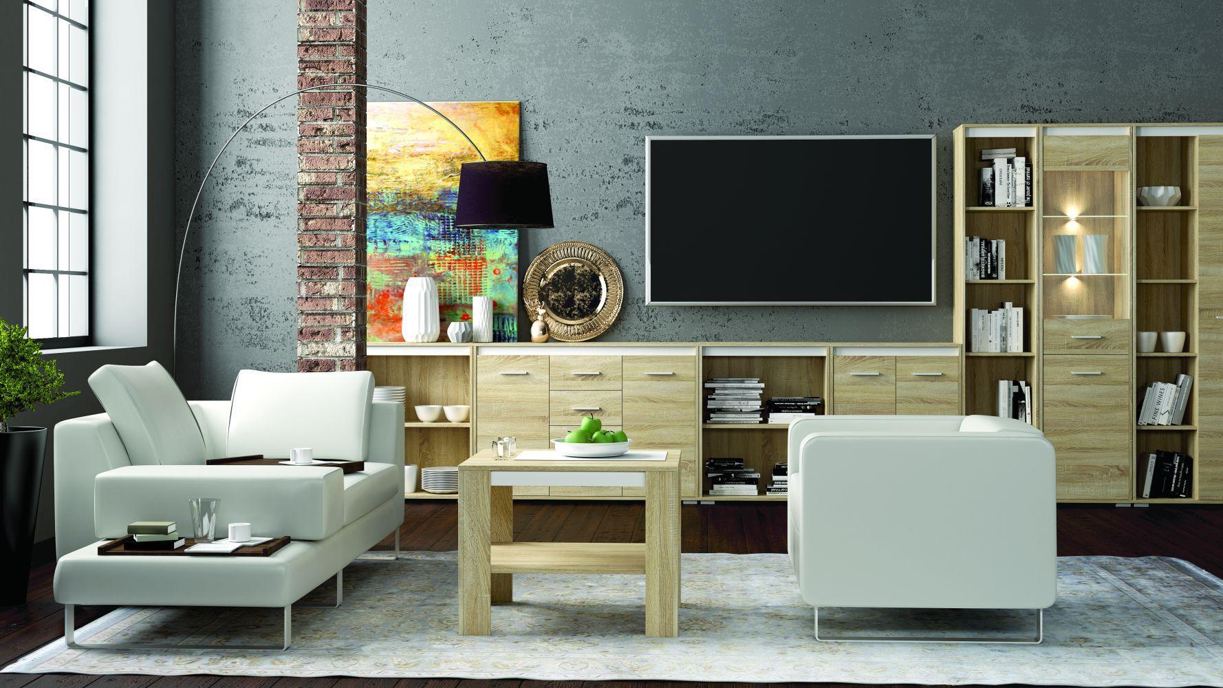 Wohnzimmer Komplett Set A Mochis 8 Teilig Farbe Sonoma Eiche Hell Inklusive 3 Farbeinsatzen