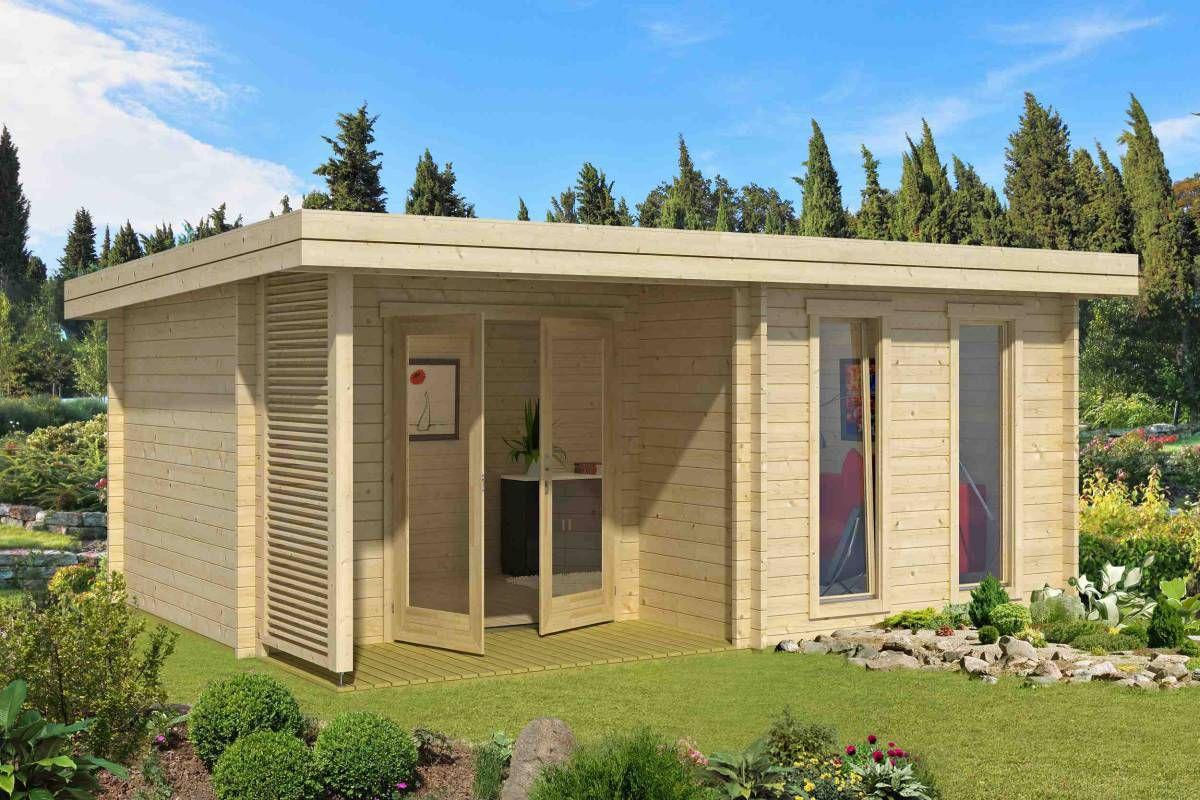 Gartenhaus G24 inkl. Fußboden - 44 mm Blockbohlenhaus, Grundfläche: 17,20 m², Pultdach