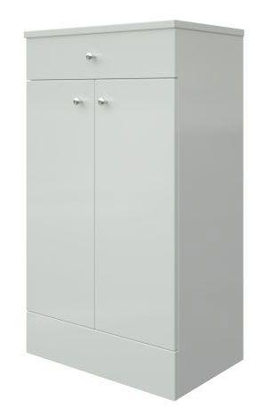 Bad - Unterschrank Hapur 14, Farbe: Weiß glänzend – 83 x 49 x 32 cm (H x B x T)