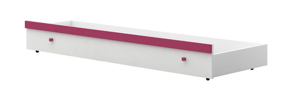 Bettkasten für Kinderbett / Jugendbett Lena 01, Farbe: Weiß / Pink - Liegefläche: 80 x 190 cm (B x L)