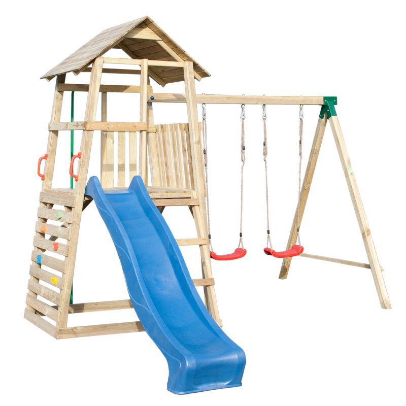 Spielturm 8B inkl. Wellenrutsche, Doppelschaukel-Anbau, Kletterwand und Rutschstange - Abmessungen: 345 x 370 cm