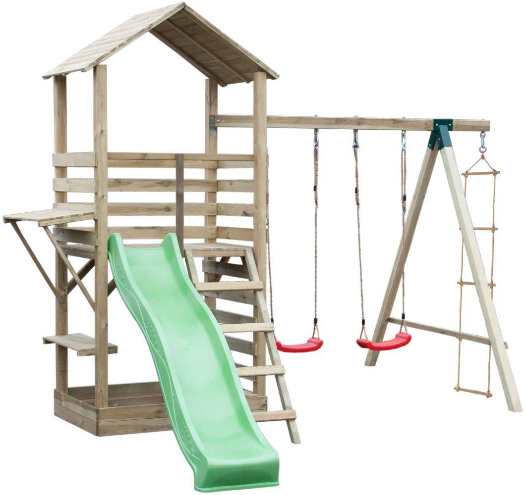 Spielturm 17A inkl. Wellenrutsche, Doppelschaukel-Anbau und Strickleiter - Abmessungen: 315 x 370 cm