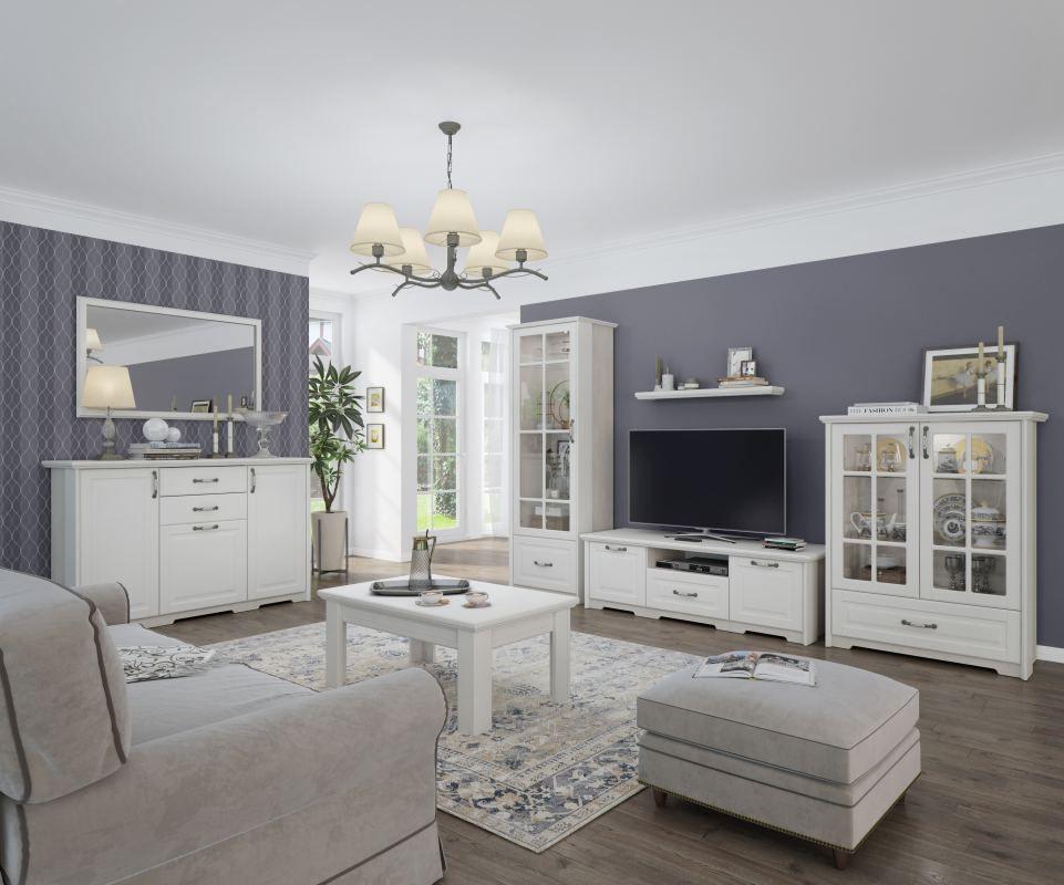 Wohnzimmer Komplett - Set C Falefa, 10-teilig, Farbe: Weiß