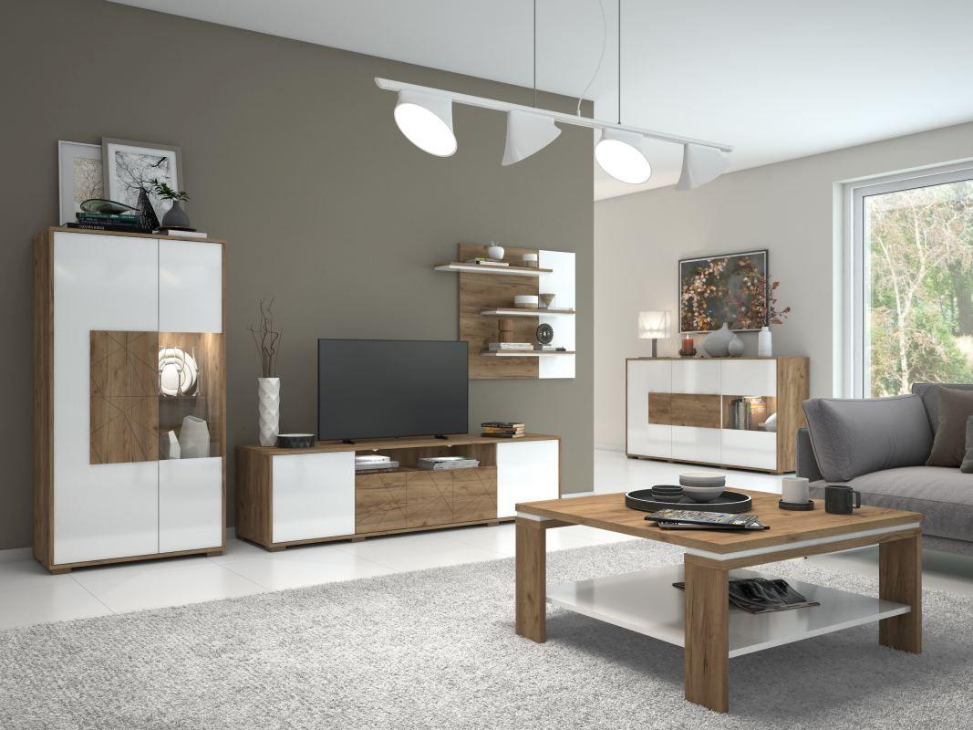 Wohnzimmer Komplett - Set B Manase, 10-teilig, Farbe: Eiche Braun / Weiß  Hochglanz