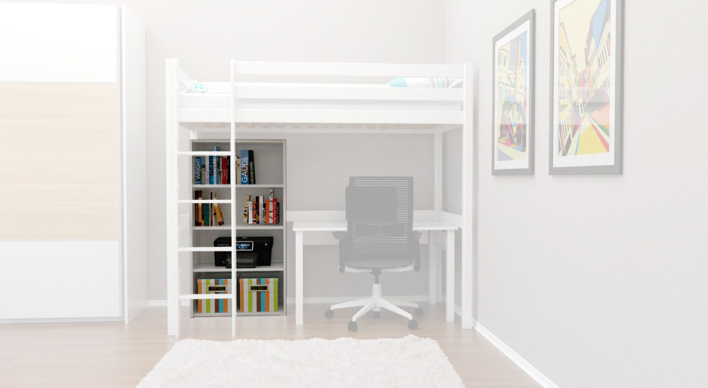 Bücherregal Robert Buche massiv - weiß lackiert