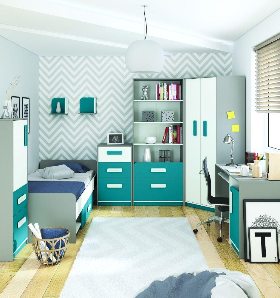 Kinderzimmer Komplett - Set H Renton, 8-teilig, Farbe: Platingrau / Weiß / Blaugrün