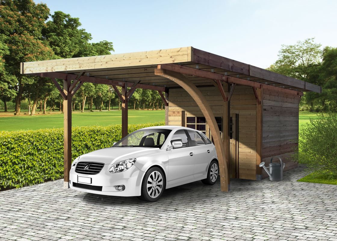 Carport Datura S7754 - 120 x 120 mm Pfostenstärke, kesseldruckimprägniert, Grundfläche: 16,93 m², Flachdach