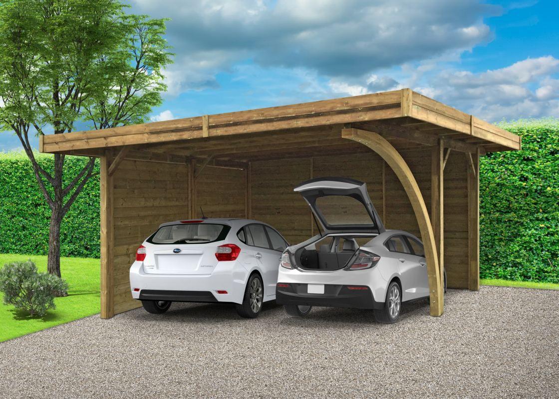 Carport Datura S7758 - 120 x 120 mm Pfostenstärke, kesseldruckimprägniert, Grundfläche: 19,35 m², Flachdach