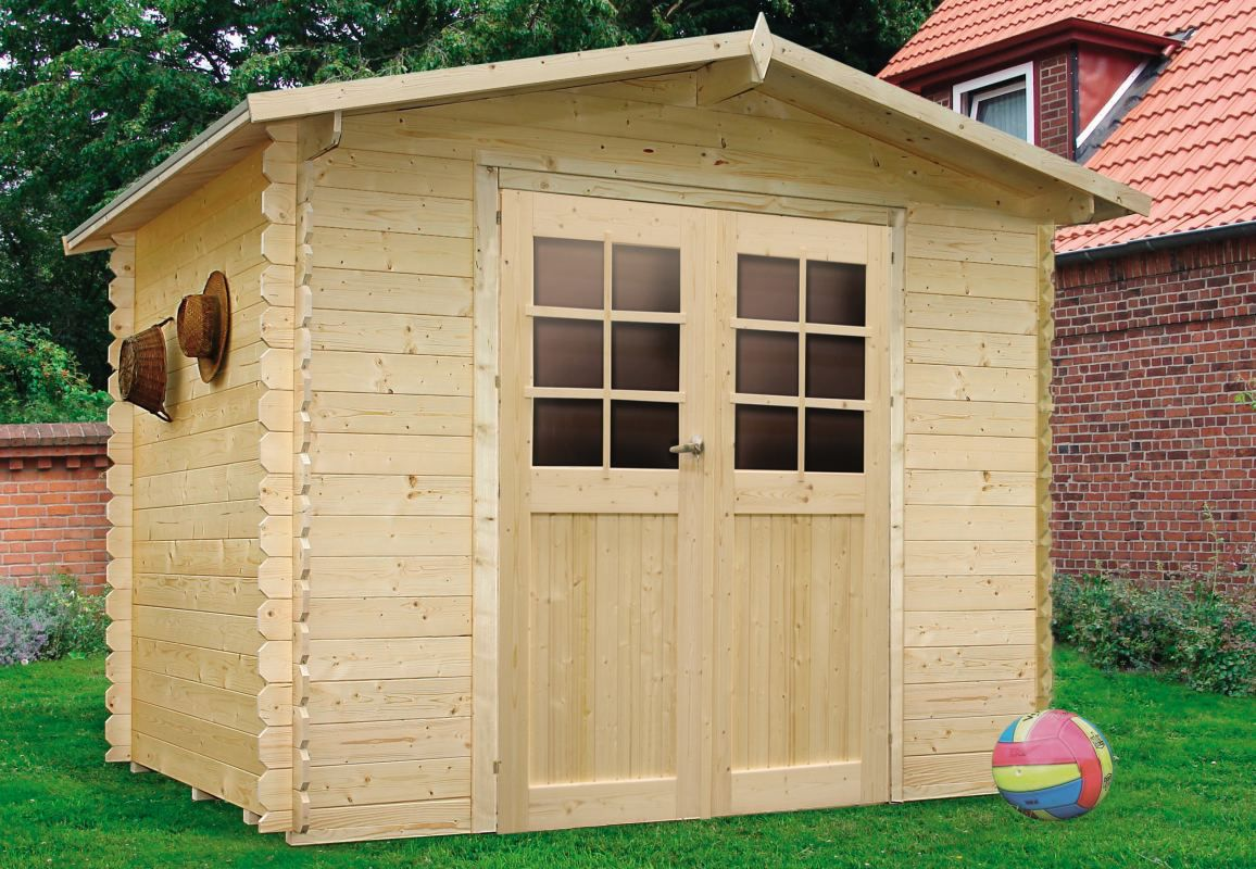Gartenhaus Betula S8603 - 19 mm Blockbohlenhaus, Grundfläche: 7,39 m², Satteldach