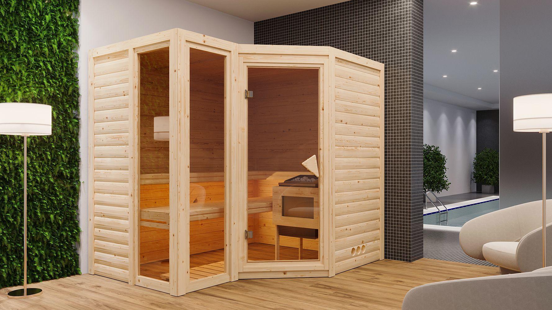 Massivholzsauna Elisa 01, 40 mm Wandstärke - 236 x 184 x 206 cm (B x T x H) - Ausführung:inkl. Ofen mit integrierter Steuerung