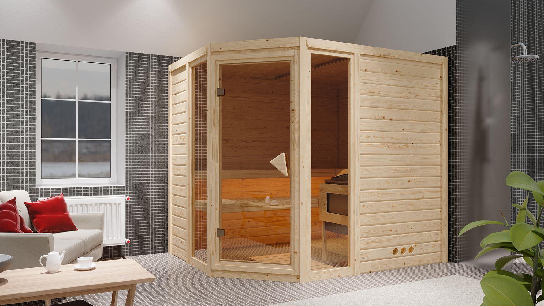 Massivholzsauna Nicole 01, 40 mm Wandstärke - 236 x 184 x 209 cm (B x T x H) - Ausführung:inkl. Bio-Ofen mit externer Steuerung