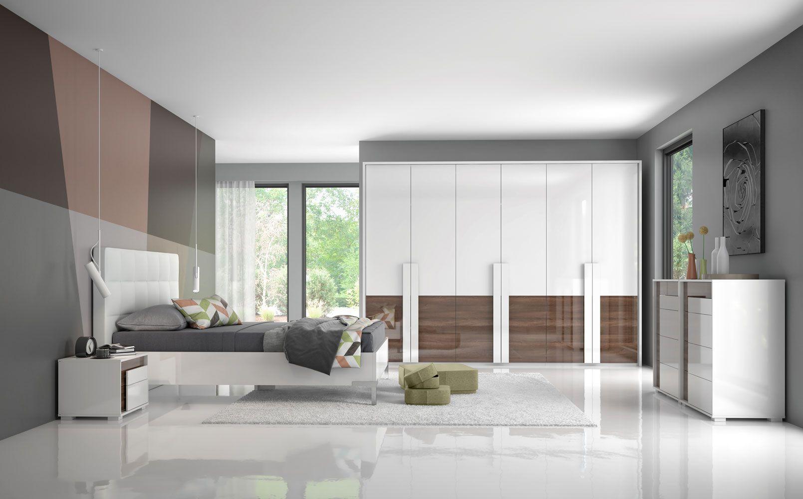 Schlafzimmer Komplett Set B Afega 9 Teilig Farbe Weiss Hochglanz Nuss Hochglanz Inkl Led Rahmen Fur Kleiderschrank