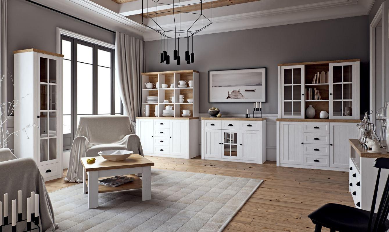 Wohnzimmer Komplett Set A Segnas 8 Teilig Farbe Kiefer Weiss