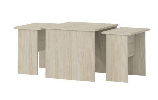 Kinderzimmer - Tisch Benjamin 09, 3-teilig, Farbe: Esche